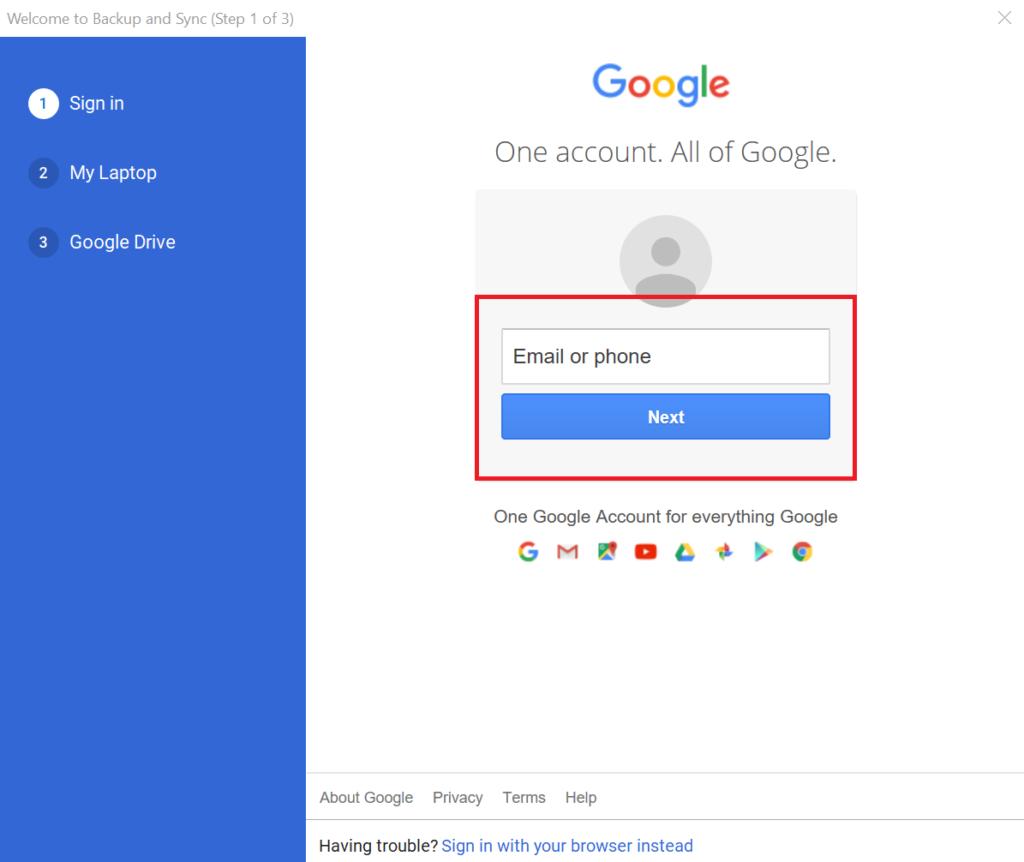 copy thư mục trên google drive - đăng nhập tài khoản trên ứng dụng Backup and Sync 2