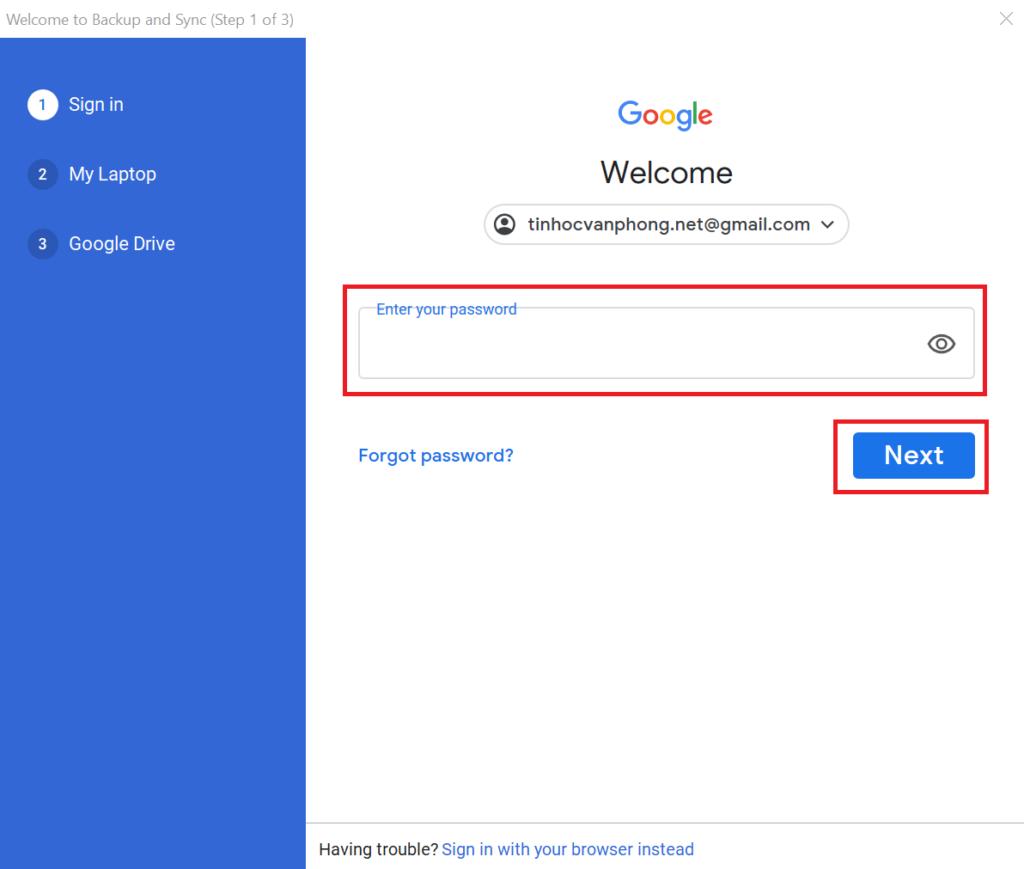 copy thư mục trên google drive - đăng nhập tài khoản trên ứng dụng Backup and Sync 3
