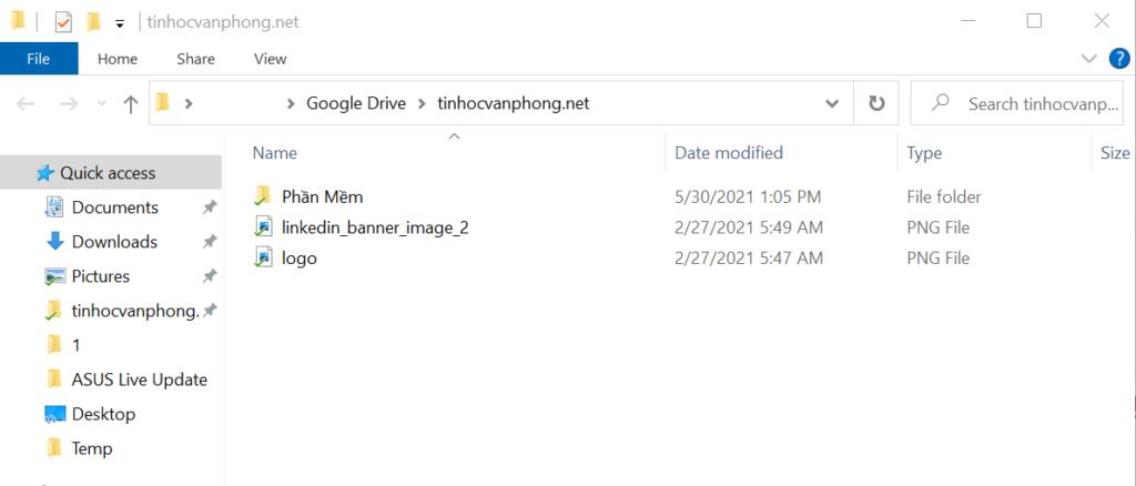 copy thư mục trên google drive - sau khi đồng bộ thành công