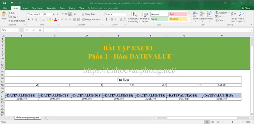 Bài tập ví dụ hàm DATEVALUE cho giá trị là số, dạng LOGIC.