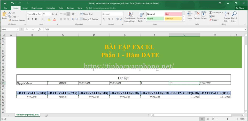 Bài tập áp dụng hàm datevalue cho giá trị văn bản