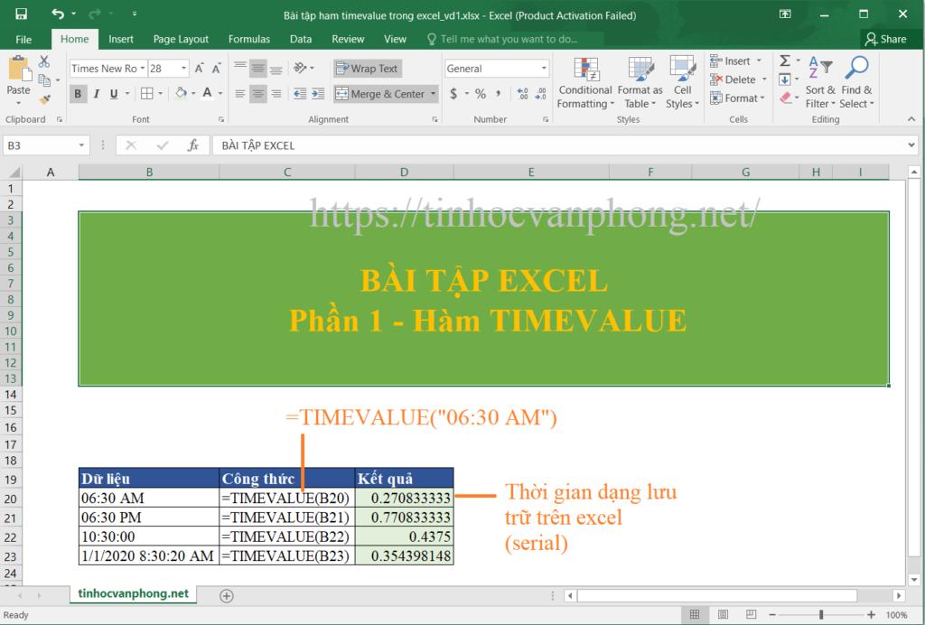 Ví dụ 1 cho hàm timevalue