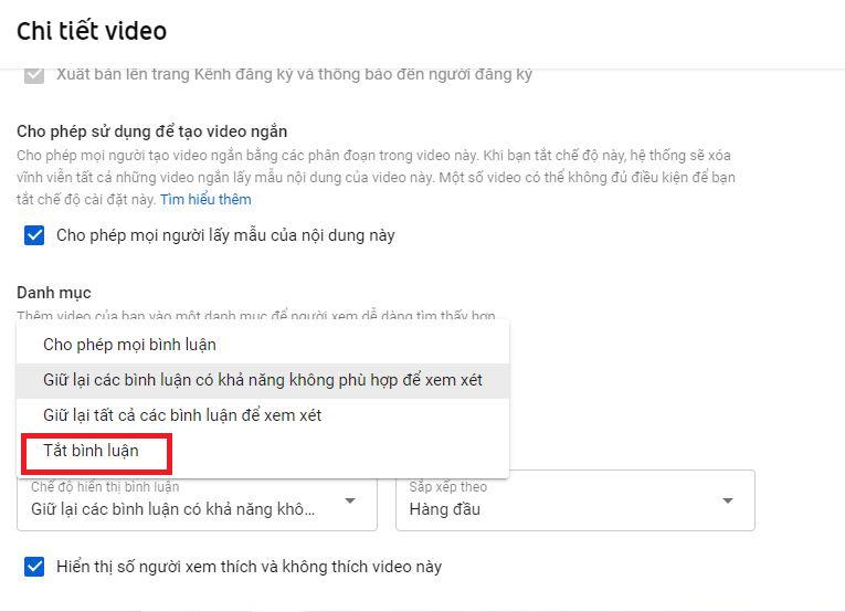 Chọn Tắt bình luận để Tắt bình luận trên YouTube