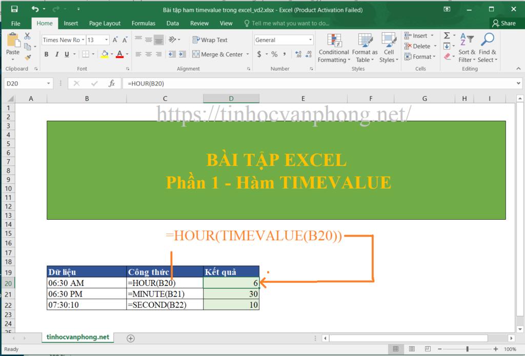 ví dụ 2 sử dụng hàm timevalue trong các hàm thời gian
