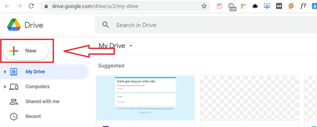 hướng dẫn cách upload file lên Google Drive - chọn New