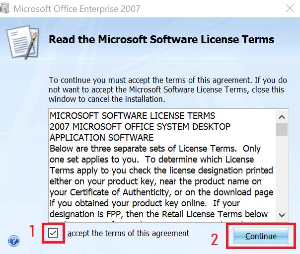 hướng dẫn tải và cài office 2007 - đồng ý điều khoản