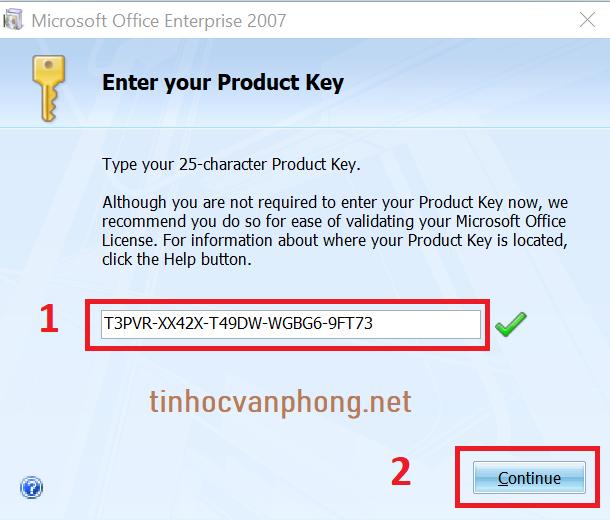 hướng dẫn tải và cài office 2007 - nhập key