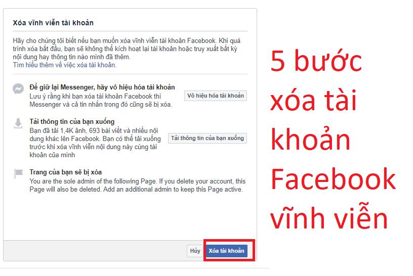 5 bước xóa vĩnh viễn  tài khoản Facebook