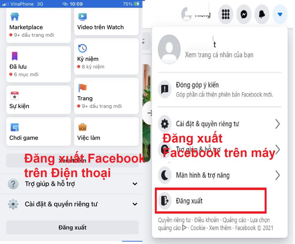 Cách đăng xuất Facebook trên máy tính, điện thoại iphone, samsung vv
