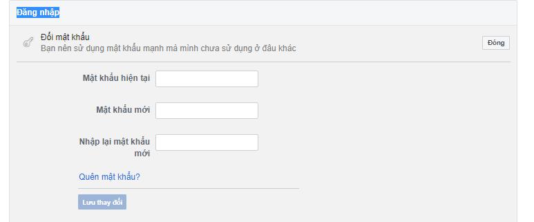 Form đổi mật khẩu facebook