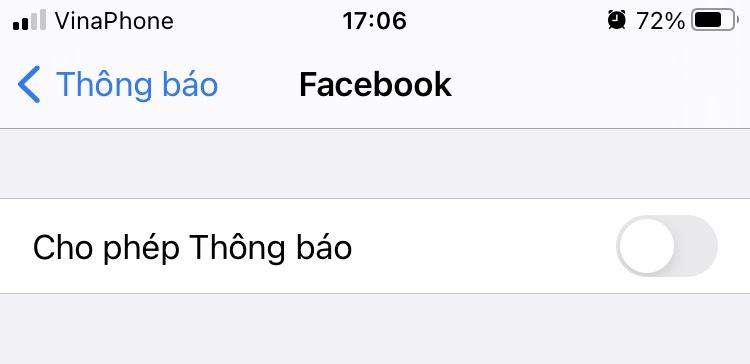 Tắt thông báo Facebook trên iPhone, iPad