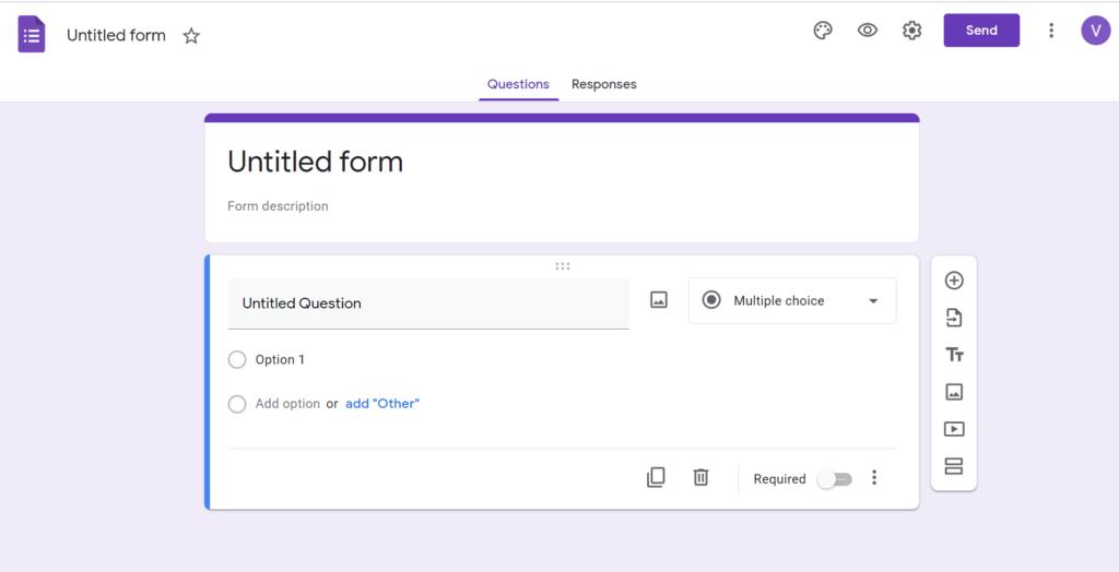 tạo form google drive - blank form