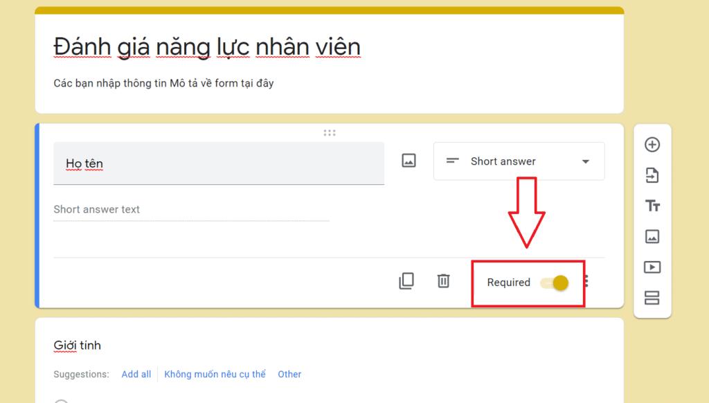 tạo form google drive - câu hỏi bắt buộc