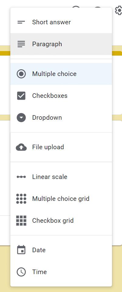 tạo form google drive - danh sách loại câu hỏi