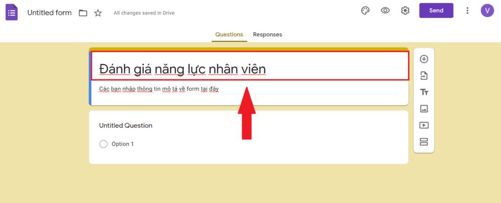 tạo form google drive - đặt tên cho biểu mẫu