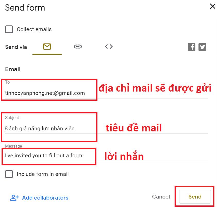 tạo form google drive - gửi form thông qua mail