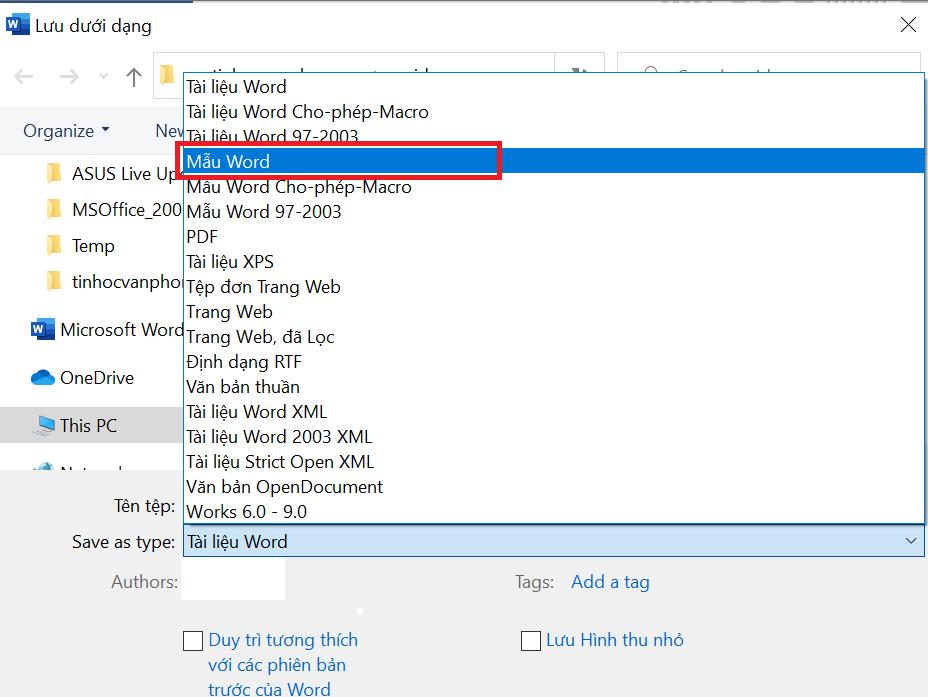 tạo template trong word - chọn định dạng lưu