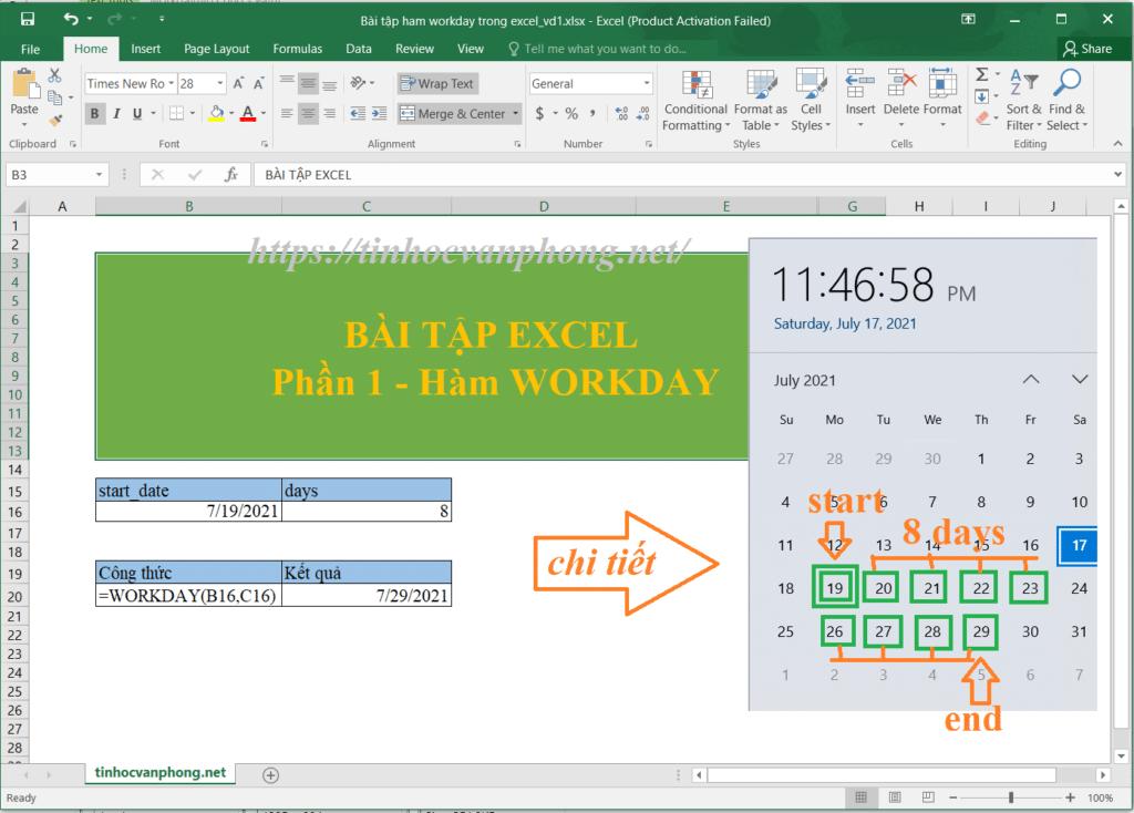 Ví dụ 1 hàm workday tính ngày hoàn thành dự án không bao gồm thứ 7, cn