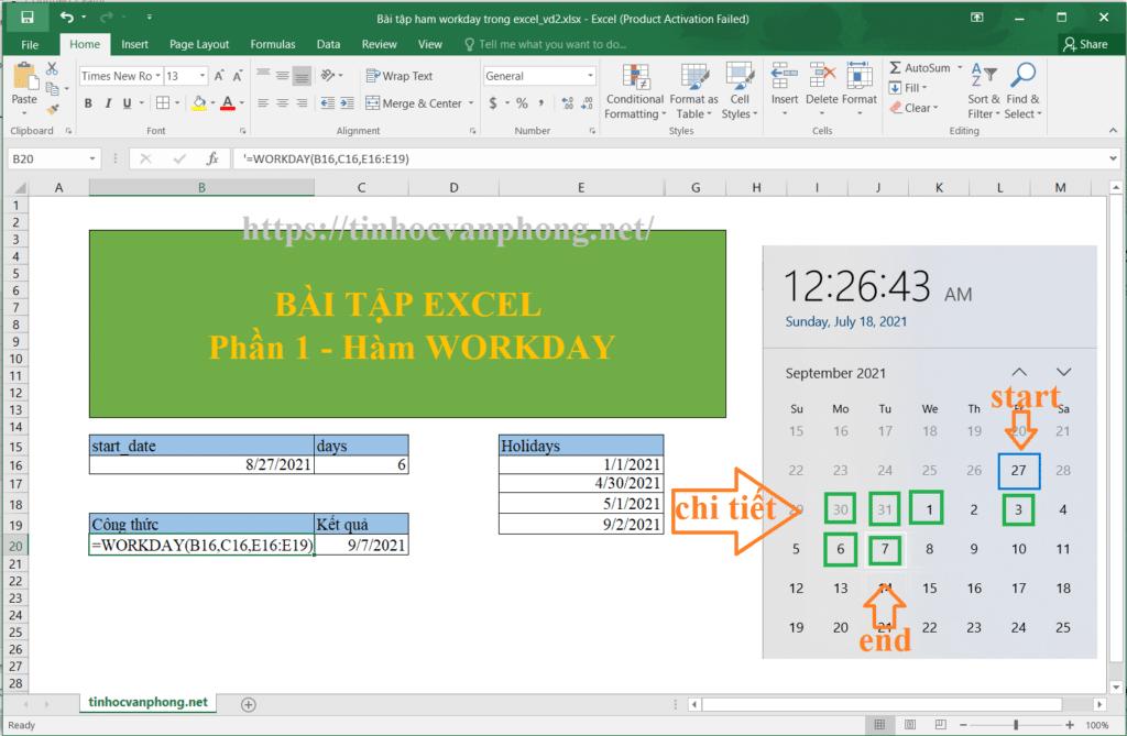 Ví dụ 2: Hàm workday tính thời gian hoàn thành dự án không tính ngày cuối và ngày lễ tết