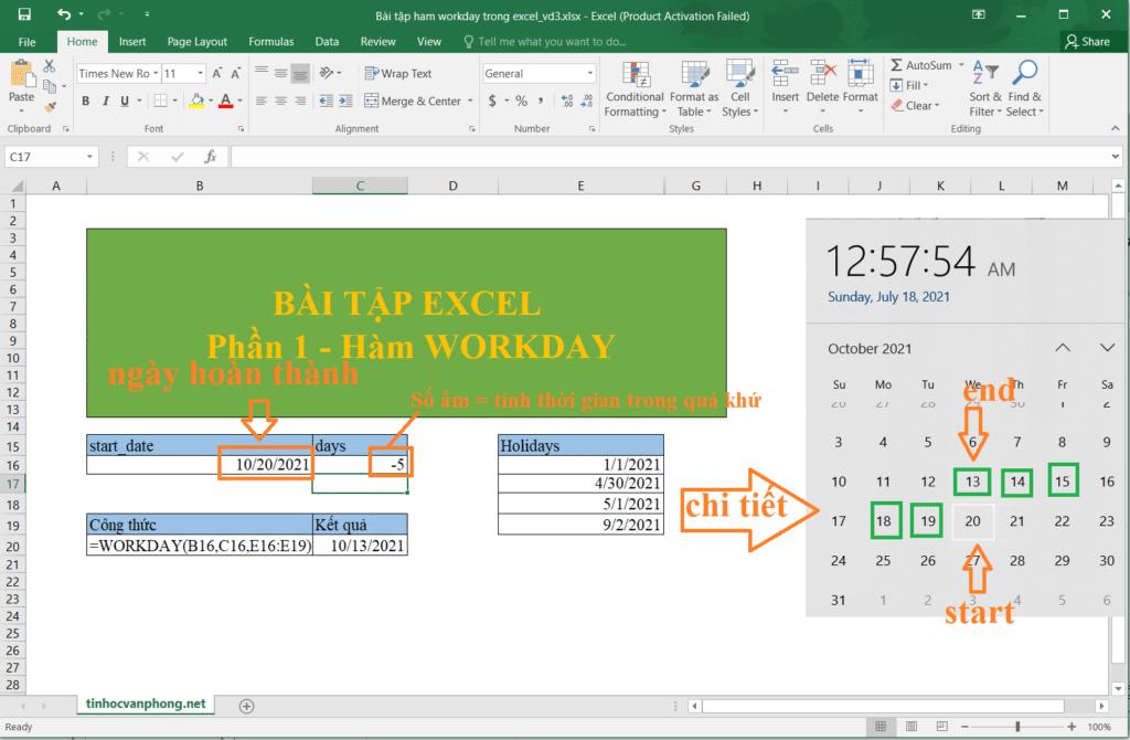 Ví dụ 3: Hàm workday tính ngày bắt đầu dự án không tính ngày cuối tuần và ngày lễ