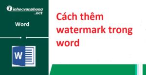 watermark trong word